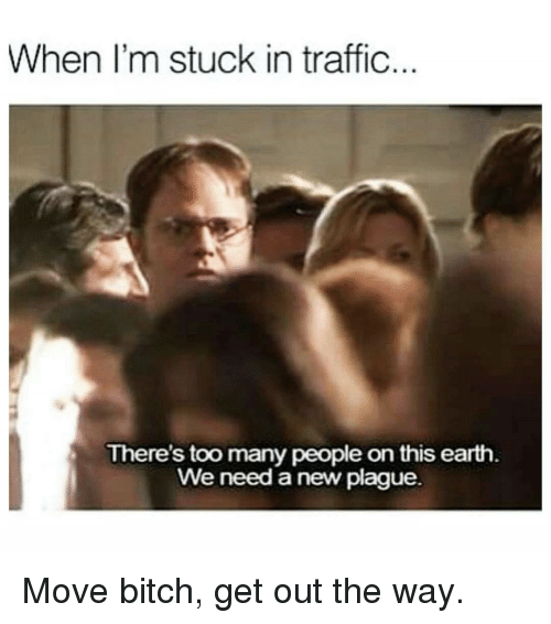 Memes, Traffic, and 🤖: When I'm stuck in traffic  There's too many people on this earth  We need a new plague. Move bitch, get out the way.