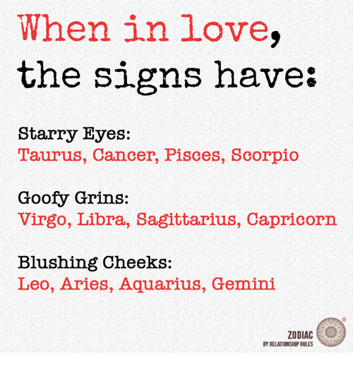 Love, Aquarius, and Aries: When in love  the signs have  Starry Eyes:  T'aurus, Cancer, Pisces, Scorpio  Goofy Grins:  Virgo, Libra, Sagittarius, Capricorn  Blushing Cheeks:  Leo, Aries, Aquarius, Gemini  ZODIAC  BY RELATIONSHIP RULES