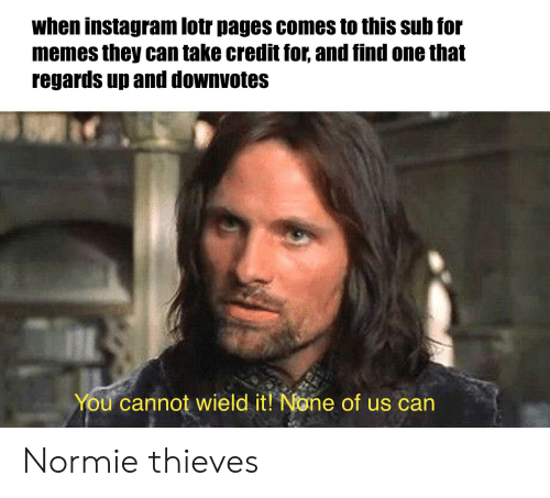 Instagram, Memes, and Lord of the Rings: when instagram lotr pages comes to this sub for  memes they can take credit for, and find one that  regards up and downvotes  You cannot wield it! None of us can Normie thieves