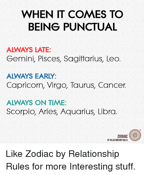WHEN IT COMES TO BEING PUNCTUAL ALWAYS LATE Gemini Pisces