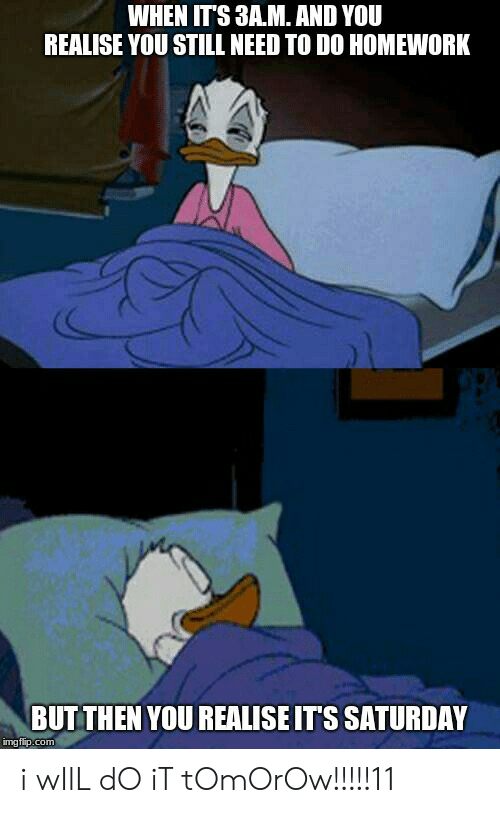 Reddit, Homework, and Com: WHEN IT'S 3A.M. AND YOU  REALISE YOU STILL NEED TO DO HOMEWORK  BUT THEN YOU REALISE ITS SATURDAY  mgfip.com i wIlL dO iT tOmOrOw!!!!!11