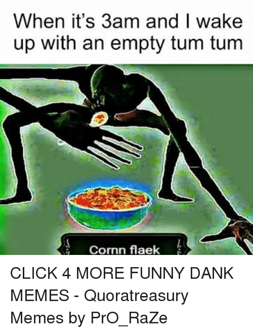 Click, Dank, and Funny: When it's 3am and I wake  up with an empty tum tum  Cormn flaek CLICK 4 MORE FUNNY DANK MEMES - Quoratreasury Memes by PrO_RaZe