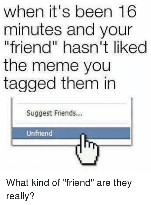 """Dank, Friends, and Meme: when it's been 16  minutes and your  """"friend"""" hasn't liked  the meme you  tagged them in  Suggest Friends...  Unfriend What kind of """"friend"""" are they really?"""