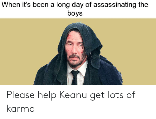 Help, Karma, and Been: When it's been a long day of assassinating the  boys Please help Keanu get lots of karma