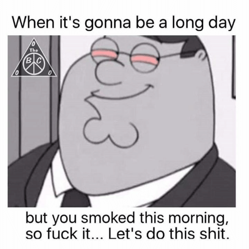 Memes, Shit, and Fuck: When it's gonna be a long day  The  в с  0  but you smoked this morning,  so fuck it... Let's do this shit.