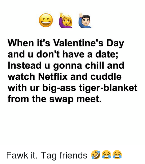 Ass, Chill, and Friends: When it's Valentine's Day  and u don't have a date;  Instead u gonna chill and  watch Netflix and cuddle  with ur big-ass tiger-blanket  from the swap meet. Fawk it. Tag friends 🤣😂😂