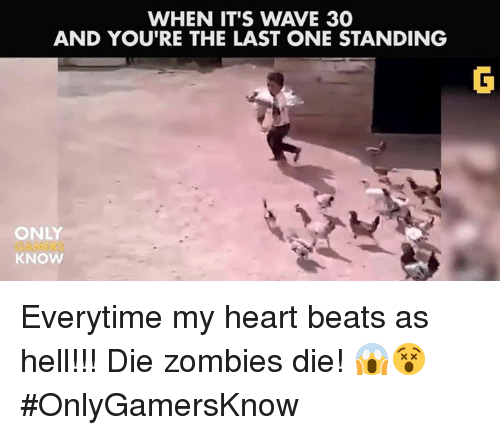 Video Games, Zombies, and Beats: WHEN IT'S WAVE 30  AND YOU'RE THE LAST ONE STANDING  ONLY  KNOW Everytime my heart beats as hell!!! Die zombies die! 😱😵 #OnlyGamersKnow
