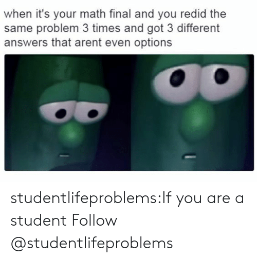 Tumblr, Blog, and Http: when it's your math final and you redid the  same problem 3 times and got 3 different  answers that arent even options studentlifeproblems:If you are a student Follow @studentlifeproblems​
