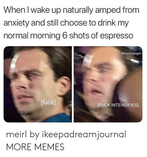 Dank, Memes, and Target: When l wake up naturally amped from  anxiety and still choose to drink my  normal morning 6 shots of espresso  @thedryginger  [fuck]  [FUCK INTENSIFIES] meirl by ikeepadreamjournal MORE MEMES