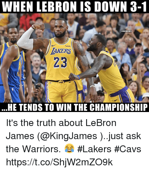 Ho Wun Lakers Vs Cavaliers >> When Lebron Is Down 3 1 Akers 23 He Tends To Win The