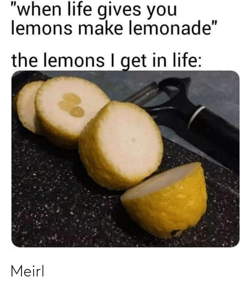 """Life, Lemonade, and MeIRL: """"when life gives you  lemons make lemonade""""  the lemons I get in life: Meirl"""