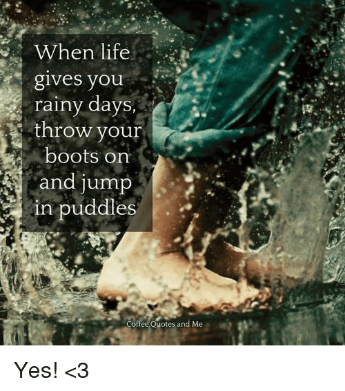 When Life Gives You Rainy Days Throw Your Boots Orn And Jump Es