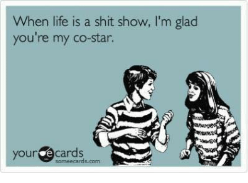 Dank, Life, and Shit: When life is a shit show, I'm glaod  you're my co-star.  your e cards  someecards.com