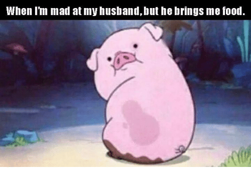 Food, Memes, and Husband: When l'm mad at my husband, but he brings me food.