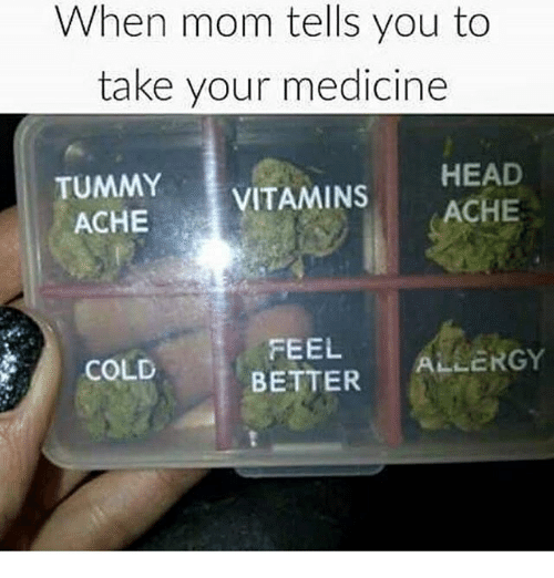 Head, Memes, and Cold: When mom tells you to  take your medicine  TUMMY  HEAD  ACHE  VITAMINS  ACHE  FEEL  ALLERGY  BETTER  COLD