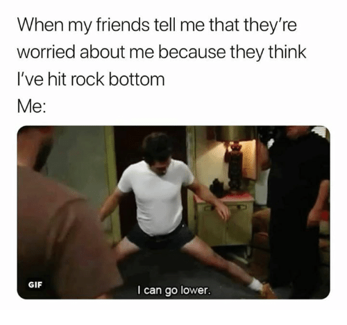 Friends, Gif, and Rock: When my friends tell me that they're  worried about me because they think  I've hit rock bottom  Me:  GIF  I can go lower.