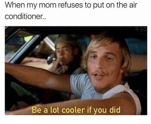 Air Conditioner, Mom, and Air: When my mom refuses to put on the air  conditioner.  Be a lot cooler if you did