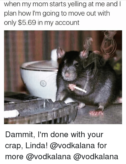 Memes, Mom, and 🤖: when my mom starts yelling at me and I  plan how I'm going to move out with  only $5.69 in my account Dammit, I'm done with your crap, Linda! @vodkalana for more @vodkalana @vodkalana
