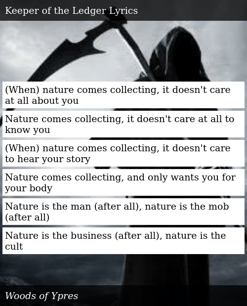 When Nature Comes Collecting It Doesn't Care at All About