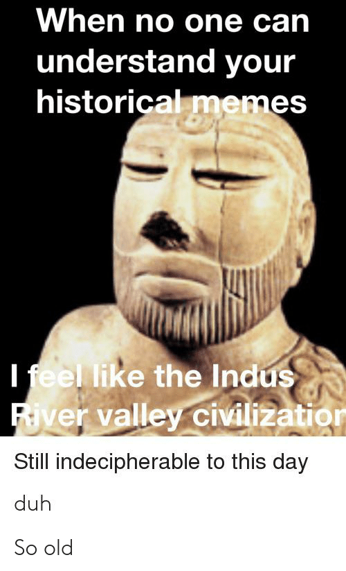 Memes, History, and Historical: When no one can  understand your  historical memes  I feel like the Indus  River valley civilizatior  Still indecipherable to this day  duh So old