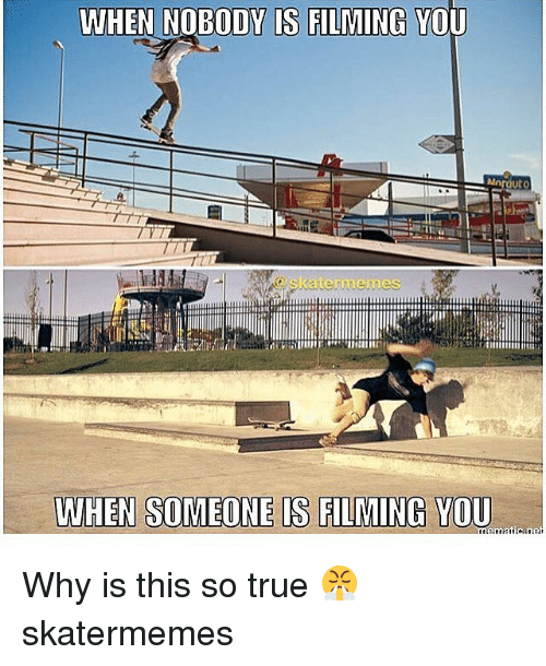 True, Skate, and Why: WHEN NOBODY IS FILMING YOU Why is this so true 😤 skatermemes