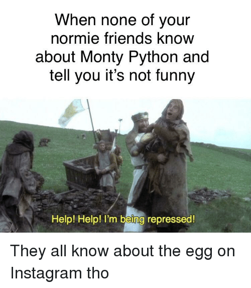 Friends, Funny, and Instagram: When none of your  normie friends know  about Monty Python and  tell you it's not funny  Help! Help! I'm being repressed They all know about the egg on Instagram tho