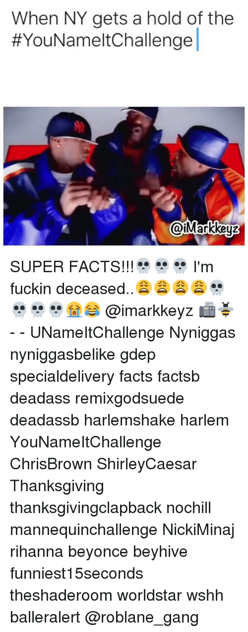 Memes, Rihanna, and Thanksgiving: When NY gets a hold of the  YouNamelt Challenge  @iMarkkey2 SUPER FACTS!!!💀💀💀 I'm fuckin deceased..😩😩😩😩💀💀💀💀😭😂 @imarkkeyz 📠🐝 - - UNameItChallenge Nyniggas nyniggasbelike gdep specialdelivery facts factsb deadass remixgodsuede deadassb harlemshake harlem YouNameItChallenge ChrisBrown ShirleyCaesar Thanksgiving thanksgivingclapback nochill mannequinchallenge NickiMinaj rihanna beyonce beyhive funniest15seconds theshaderoom worldstar wshh balleralert @roblane_gang
