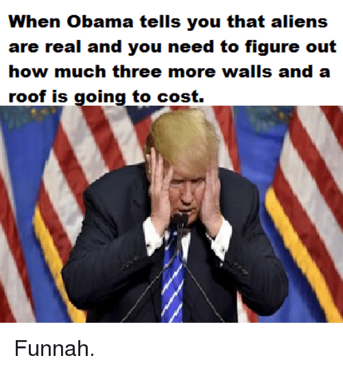 Obama, Aliens, and How: When Obama tells you that aliens  are real and you need to figure out  how much three more walls and a  roof is going to cost. Funnah.