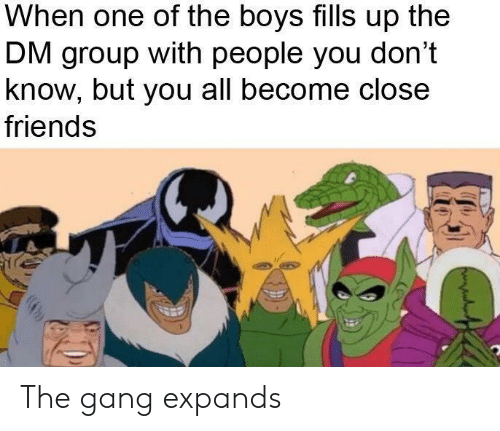 Friends, Gang, and Boys: When one of the boys fills up the  DM group with people you don't  know, but you all become close  friends The gang expands