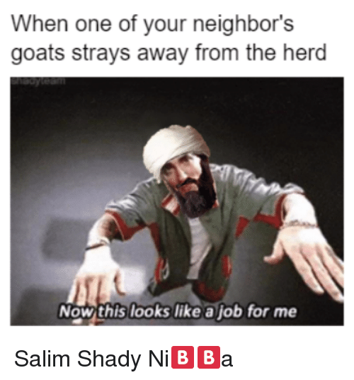 Neighbors, Dank Memes, and Job: When one of your neighbor's  goats strays away from the herd  Now this looks like a job for me