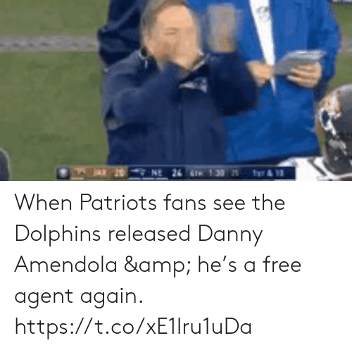 Memes, Patriotic, and Dolphins: When Patriots fans see the Dolphins released Danny Amendola & he's a free agent again. https://t.co/xE1Iru1uDa