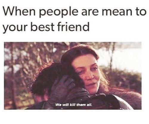 Best Friend, Memes, and Best: When people are mean to  your best friend  Wo will kill them all