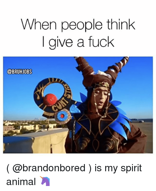 Memes, Animal, and Fuck: When people think  give a fuck  @BRUHJOBS ( @brandonbored ) is my spirit animal 🦄