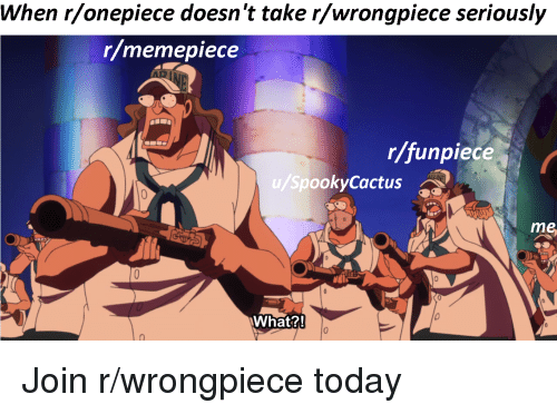 Today, Onepiece, and MemePiece: When r/onepiece doesn't take r/wrongpiece seriously  r/memepiece  r/funpiece  u/SpookyCactus  me  What?!