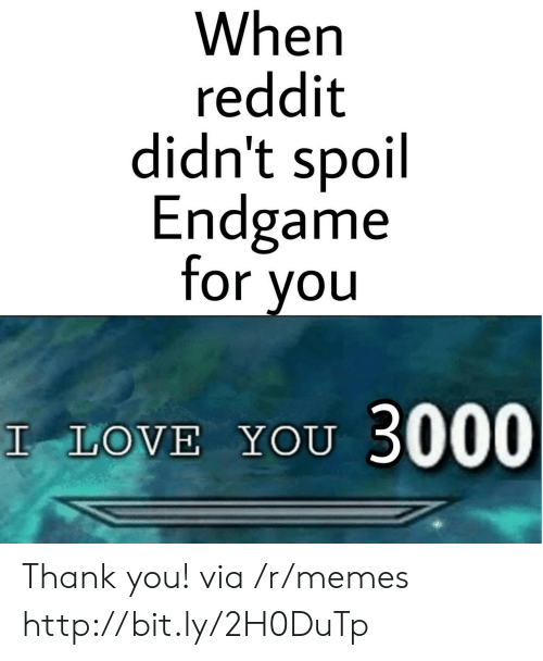 When Reddit Didn't Spoil Endgame for You LOVE YOU 3000 Thank