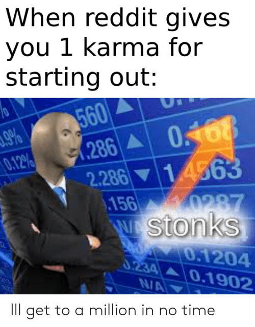 Reddit, Karma, and Time: When reddit gives  you 1 karma for  starting out:  560  .286  2.286  .156  w Stonks  0 68  14563  .9%  0.12%  0287  0.1204  0.234  0.1902  N/A Ill get to a million in no time