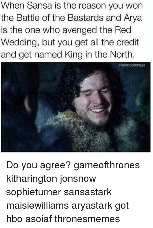 Hbo, Memes, and Red Wedding: When Sansa is the reason you won  the Battle of the Bastards and Arya  is the one who avenged the Red  Wedding, but you get all the credit  and get named King in the North.  SPUREICEANDFIRE Do you agree? gameofthrones kitharington jonsnow sophieturner sansastark maisiewilliams aryastark got hbo asoiaf thronesmemes