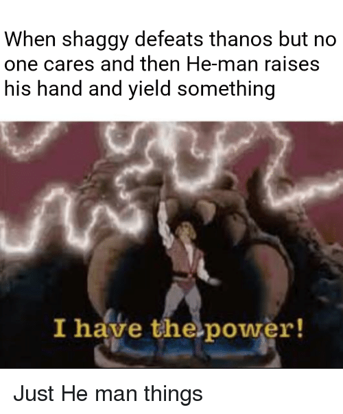 When Shaggy Defeats Thanos But No One Cares And Then He Man Raises His Hand And Yield Something I Have The Power He Man Meme On Me Me I am really proud of this, because visualizing the power itself was an important aspect for me. meme