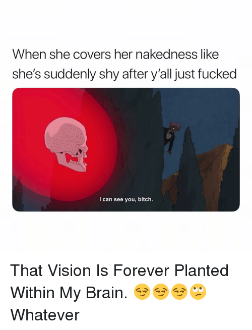 Bitch, Vision, and Brain: When she covers her nakedness like  she's suddenly shy after y'all just fucked  I can see you, bitch. That Vision Is Forever Planted Within My Brain. 😏😏😏🙄 Whatever