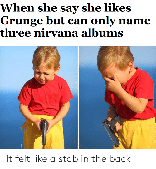 Nirvana, Dank Memes, and Back: When she say she likes  Grunge but can only name  three nirvana albums It felt like a stab in the back