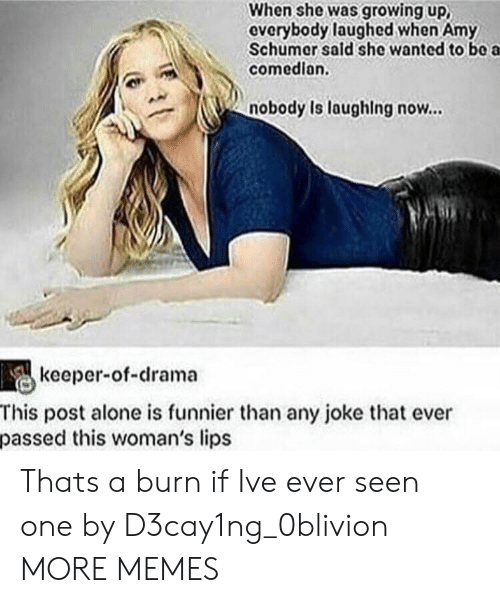 Being Alone, Amy Schumer, and Dank: When she was growing up,  everybody laughed when Amy  Schumer sald she wanted to bo a  comedion.  nobody Is laughing now...  keeper-of-drama  This post alone is funnier than any joke that ever  passed this woman's lips Thats a burn if Ive ever seen one by D3cay1ng_0blivion MORE MEMES