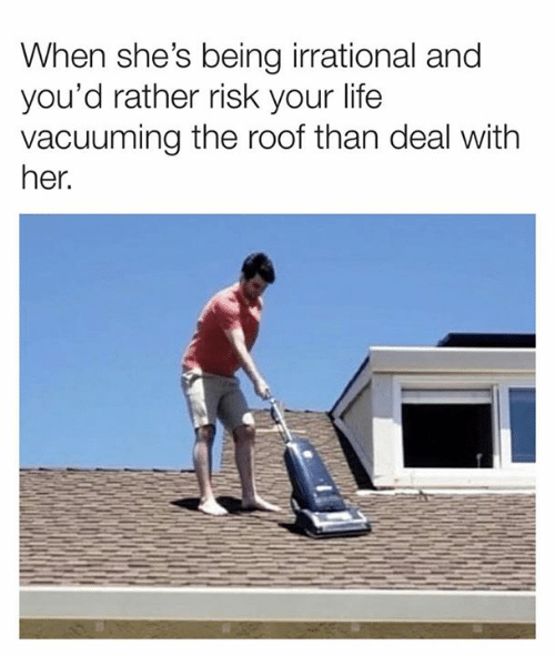 Dank, Life, and 🤖: When she's being irrational and  you'd rather risk your life  vacuuming the roof than deal with  her