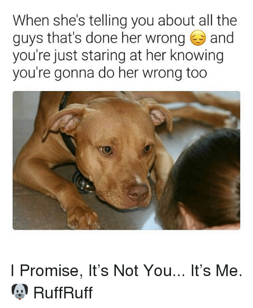 Dank Memes, All The, and Her: When she's telling you about all the  guys that's done her wrong and  you're just staring at her knowing  you're gonna do her wrong too I Promise, It's Not You... It's Me. 🐶 RuffRuff