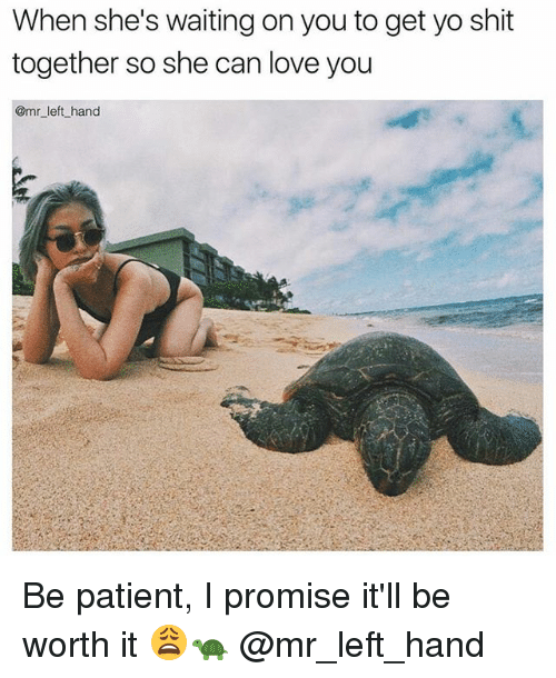 Love, Memes, and Shit: When she's waiting on you to get yo shit  together so she can love you  @mr left hand Be patient, I promise it'll be worth it 😩🐢 @mr_left_hand