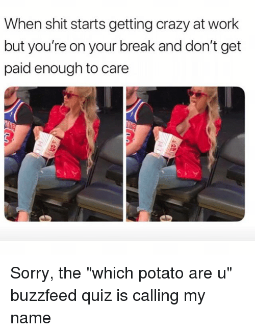 "Crazy, Shit, and Sorry: When shit starts getting crazy at work  but you're on your break and don't get  paid enough to care Sorry, the ""which potato are u"" buzzfeed quiz is calling my name"