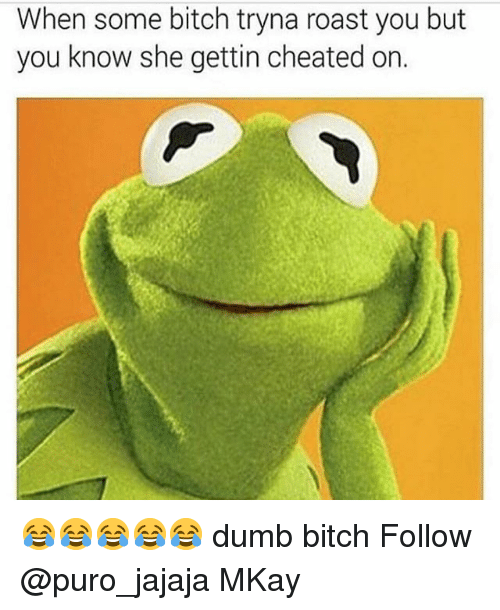 Bitch, Dumb, and Memes: When some bitch tryna roast you but  you know she gettin cheated on. 😂😂😂😂😂 dumb bitch Follow @puro_jajaja MKay