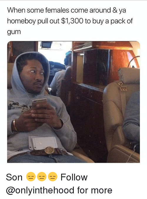 Memes, Pull Out, and Homeboy: When some females come around & ya  homeboy pull out $1,300 to buy a pack of  gum Son 😑😑😑 Follow @onlyinthehood for more