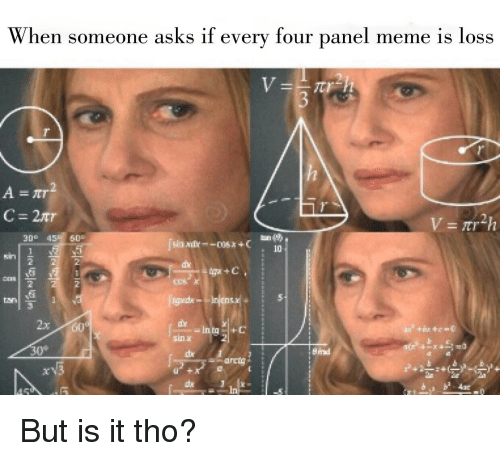 when someone asks if every four panel meme is loss 32825311 when someone asks if every four panel meme is loss 2 a =at 30° 45 60