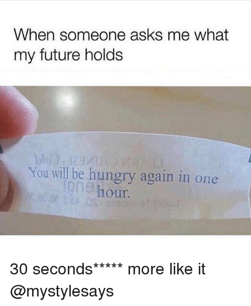 Future, Hungry, and Girl Memes: When someone asks me what  my future holds  blo  You will be hungry again in one  on9 hour.  ong 30 seconds***** more like it @mystylesays