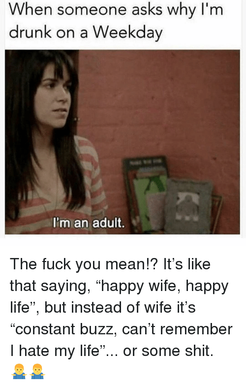 "Drunk, Fuck You, and Life: When someone asks why I'm  drunk on a Weekday  I'm an adult. The fuck you mean!? It's like that saying, ""happy wife, happy life"", but instead of wife it's ""constant buzz, can't remember I hate my life""... or some shit. 🤷‍♂️🤷‍♂️"